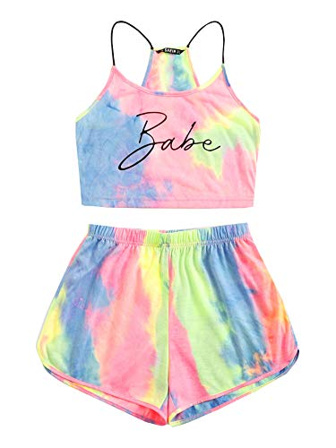 SheIn Women's 2 Pieces Outfit Set Tie Dye Letter Shorts and Crop Cami Top Suits Medium