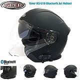 Viper V10 BL+ CASCHI Jet Bluetooth 3.0 Casco Aperto Moto Touring Open Face Demi Jet Casco Bluetooth Cruiser Motociclo Vespa Scooter, ECE omologato (Nero Opaco,S)