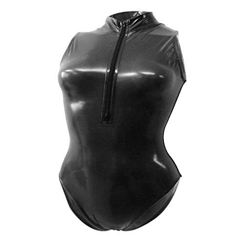 Fenteer Damen Hydrasuit Wetlook Badeanzug Bademode Schwimmanzug Metallic Unterhemd Jumpsuit Overall Dessous - schwarz, m