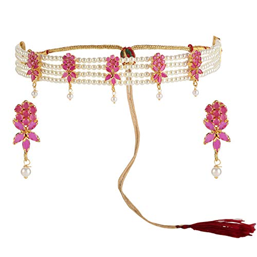 Efulgenz Indian Bollywood 14 K Gold Plated Cubic Zirconia Faux Ruby Pearl Choker Necklace Earring Bridal Jewelry Set