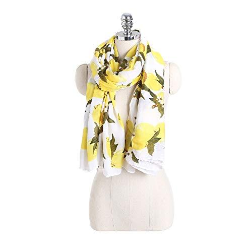 Bufanda Mujer Bufandas Ligeras Mujer algodón Lino Estampado Bufanda limón patrón de Seda Bufanda Playa Viaje Chal Cuello Bufanda Regalos Elegantes (Color : Yellow, Size : 170x95cm)