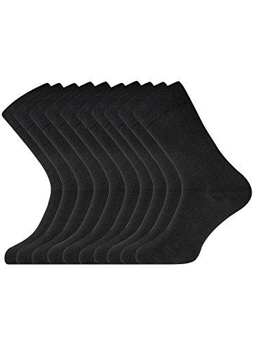 oodji Ultra Herren Lange Socken (10er-Pack), Schwarz, DE 40-43 / one size