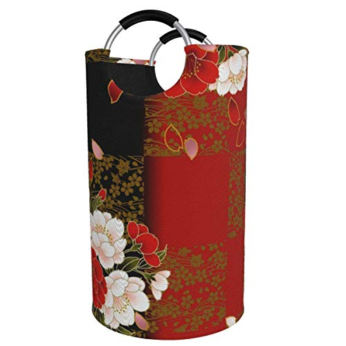 N\A Cesto de lavandería Grande de 82 l, cesto de lavandería de Tela Plegable Floral Negro y Rojo, Bolsa de Ropa Plegable, cesto de Almacenamiento Plegable para lavadero