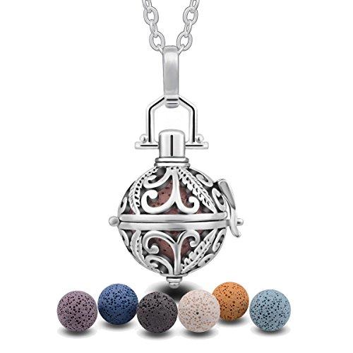 Eudora Harmony Floating Locket 7PCS Lava Stone Aromatherapy Locket Women Perfume Essential Oil Diffuser Pendant Necklace,24'