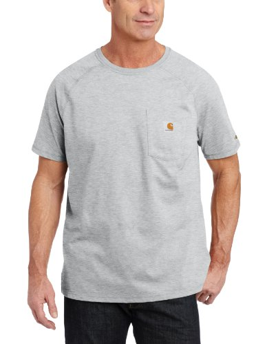 Carhartt Men's Force Cotton Delmont Short Sleeve T-Shirt (Regular and Big & Tall Sizes), Heather Gray, Large