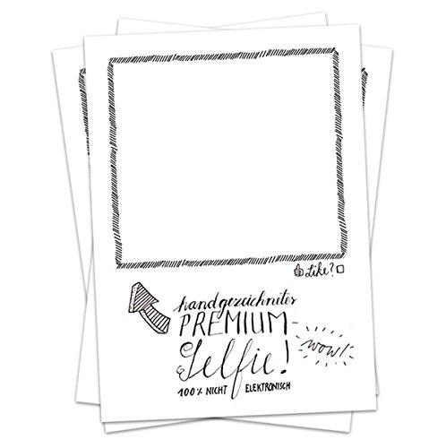Hochzeitsspiel für Gäste - 52 Postkarten für analoge premium Selfies - Partyspiel für Hochzeit, Geburtstagsparty zum selbst Zeichnen, kreative Eisbrecher Recyclingpapier Partykarten, Schwarz Weiß