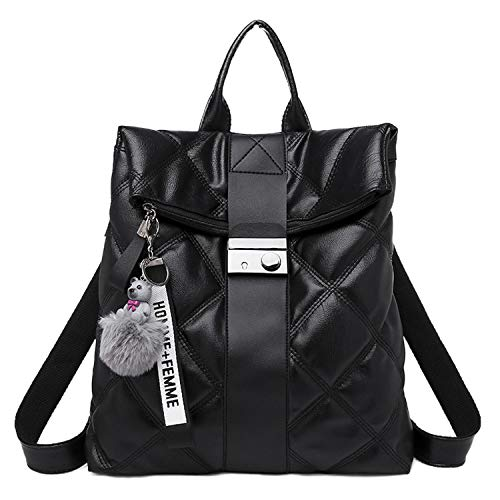 Backpack Women'S New Retro Large Capacity Casual Soft Leather Waterproof Outdoor Fashion Travel Bag-Black-