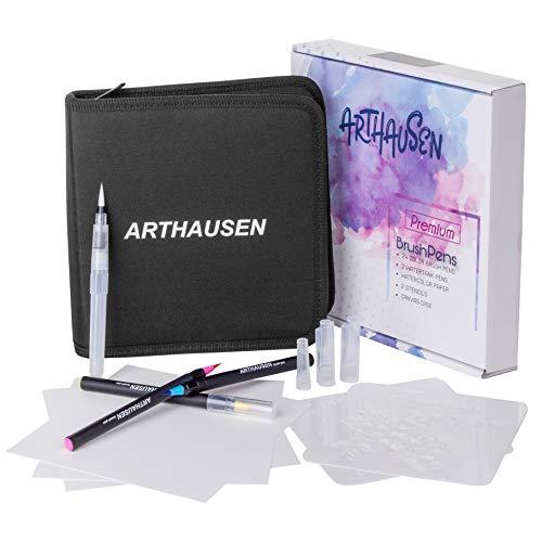 Penseelstiften set van 39 I 24 aquarel kleuren Brush pennen, 2 waterstiften, 10 aquarelpapier, 2 sjablonen, met flexibele echte penseelpunt | schilderen, Bullet Journal, kalligrafie, handlettering | kinderen, volwassenen