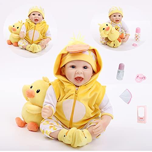 ZIYIUI Muñeca Reborn de 22 Pulgadas Suave simulación de bebé Vinilo de Silicona 55 CM Ropa de Pato Amarillo Hermoso Juguete Realista para niños (22 Pulgadas)
