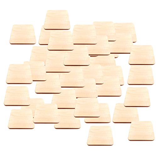 homozy 50Pcs Unfinished Wood Square Pieces, Blank Ornaments Wooden Cutouts for DIY Craft Project, Decoration - 4x4cm