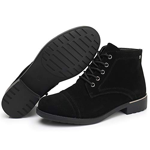 Womens Low Heel Ankle Boots Fashion Anti Slip Closed Toe Chelsea Booties for Women - Western Cowgirl Thick Rubber Botas Para Mujer Ladies Comfortable Black Insoles Shoes Size9