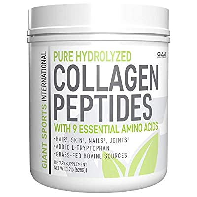 Giant Sports Collagen Peptide Powder - Hydrolyzed Complete All Essential Amino Acids with L-Tryptophan, Great for Skin, Hair, Nails, Bones, Joints - Grass Fed Pasture Raised Type 1 Type 3-1 LB.
