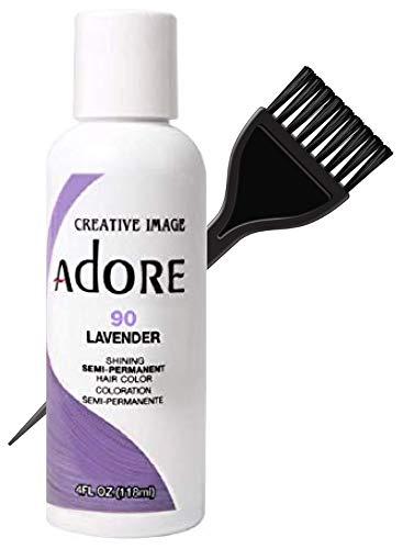 ADORE Creative Image Shining SEMI-PERMANENT Hair Color (STYLIST KIT) No Ammonia, No Peroxide, No Alcohol Haircolor Semi Permanent Dye (90 Lavender)