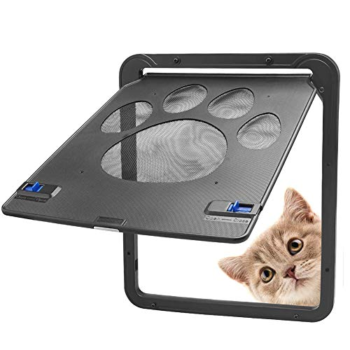 LCZ Verschließbare Haustier-Klapptür, 4-Wege-Verschluss Katzenklappe Tür Magnet Pet-Schirm-Tür Für Katzen Und Kleine Hunde, Nette Paw Design Universal-Schließautomatik (Schwarz)