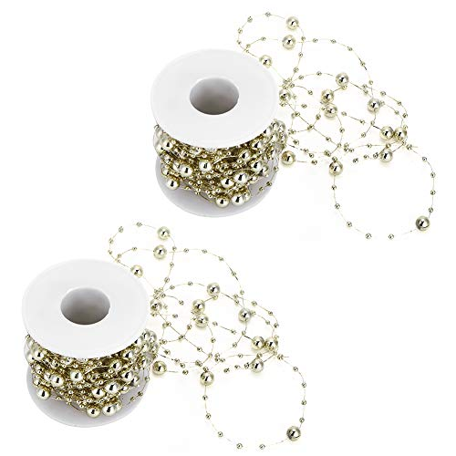 Hand‑Made Pearl Bead String, DIY String Roll, ABS Bouquet for(Golden Round Beads, 10m/roll)
