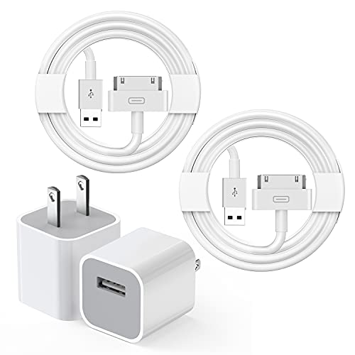 Old iPad Charger, iPhone 4 Charger, 5W USB Power Adapter with 3FT 30-Pin to USB Charging Cable iPad Charger Cord Compatible with iPad 1/2/3, iPhone 4/4S/3/3S, iPod Nano, iPod Touch (2Pack)