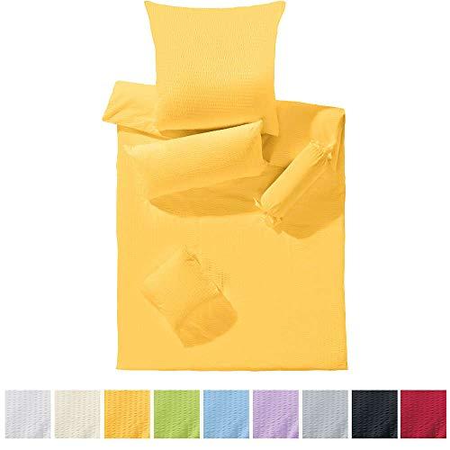 Erwin Müller Bettwäsche-Set Seersucker Uni, Bettbezug, Kissenbezug gelb, Größe 135x200 cm (80x80 cm) - temperaturausgleichend, bügelfrei, mit Reißverschluss (100% Baumwolle)