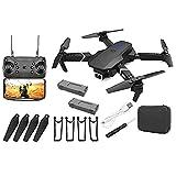 Rrunzfon GPS Drone E88 Pro para Adultos 4K Pro Dual Cámara Plegable Video Drone RC Quadcopter Aviones con 2battery Black Configuration Upgrade