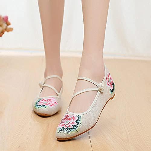 FHSMRING Mujeres de algodón Tela Ballet Pisos Puntas Puntiagudas Strap Strap Señoras Casuales Ballerinas Zapatos Bordados Harajuku (Color : Beige, tamaño : 37 EU)