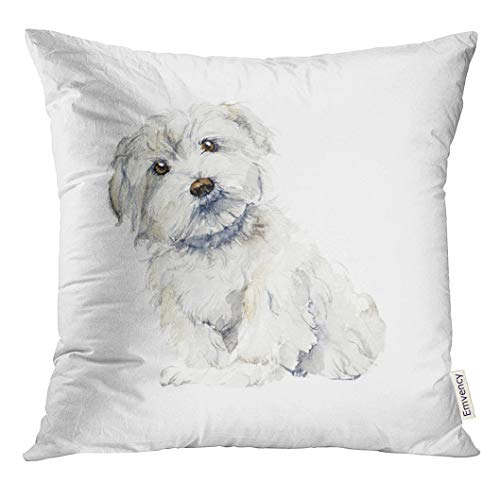 Golee Throw Pillow Cover White Puppy Maltese Dog Portrait Small Watercolor Hand Drawn Cute Drawing Decorative Pillow Case Home Decor Square 18x18 Inches Pillowcase