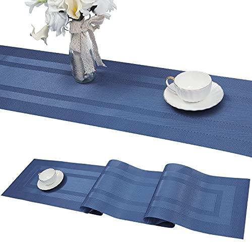 SHACOS PVC Camino de Mesa Azul Lavable Antideslizante Resistente Al Calor Antimanchas 30x180 cm