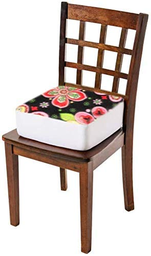 Comfort Finds Rise with Ease Seat Cushion - Thick Firm Chair Cushion Booster - Extra Thick Foam Pad for Home, Patio, Office and Car Seats - Extra Supportive Lift - 15.5 X 18 X 5 (Floral Fleece)
