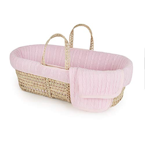 Tadpoles Cable Knit Moses Basket and Bedding Set, Pink