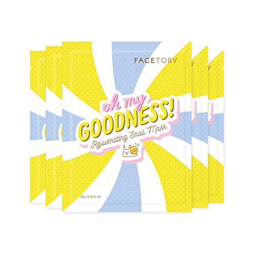 FaceTory Oh My Goodness Rejuvenating Snail Sheet Mask - Hydrating, Brightening, and Plumping (Pack of 5)