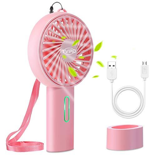 Tvird Handventilator Ventilator Tragbarer Mini Lüfter Wiederaufladbar 2200mAh Batterie und USB Geräuscharm HandheldVentilator 3 Geschwindigkeiten Kompatibel Laptop mit Schlüsselband(Rosa)