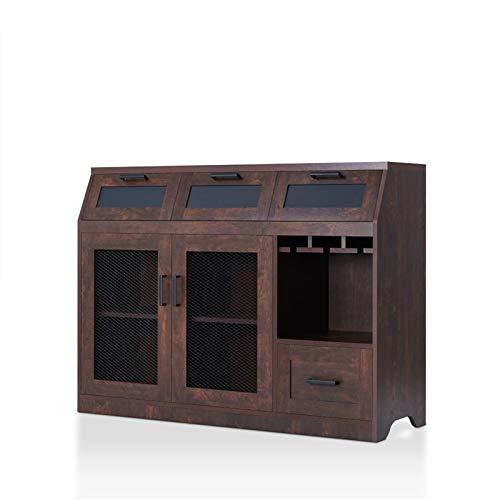 Furniture of America Dalton Wooden Wine Storage Buffet in Vintage Walnut
