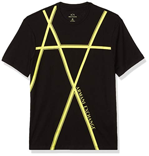 A|X Armani Exchange Men's Crew Neck Regular Fit Short Sleeve, Black, L