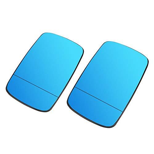 Duokon 1 paar spiegelglas verwarmbaar rechts buiten links buitenspiegels verwarmbaar geschikt voor E46 E39 (blauw)