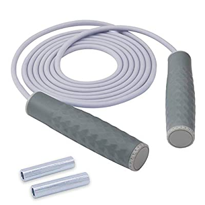 Weighted Jump Rope Workout Heavy Extra Thick Bold Adjustable Skipping Rope with Speed Ball Bearing Non-Slip Handle for Women Men Kids Professional Training Cardio Endurance Fitness Exercise (Gray)