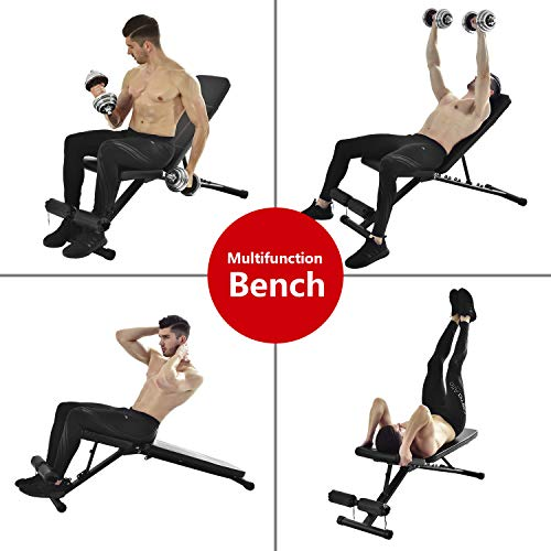 Magic Fit 7 Levels Foldable Weight Bench,Exercise Training Bench Adjustable Sit-up/Push Up Bench Workout for Home Gym 550LBS Weight Capacity
