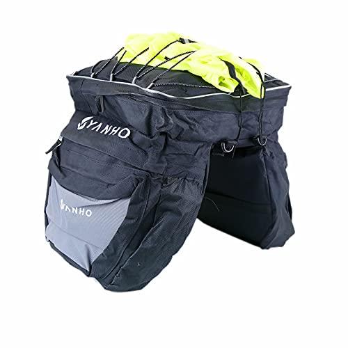 PrimeMatik - Alforjas portaequipaje de lona negra para bicicleta