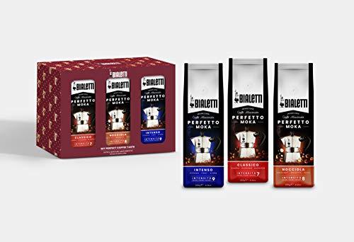 Bialetti Perfect Coffee Taste Set, 3 Sacchetti di Caffè Macinato Perfetto Moka da 250 gr (Gusti: Classico, Intenso, Nocciola), Confezione Regalo