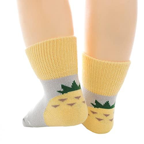 YONKOUNY 3 Pares Calcetines de Bebés Calcetines de Algodón Antideslizantes Calcetines Deportivos para Niños Niñas 6-12 meses (Amarillo)