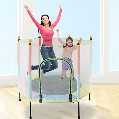 Trade Star Exports 5FT Little Small Trampoline for Kids Toddler Recreational Trampolines with Enclosure Net Jumping Mat and Spring Cover Padding Safety Interactive Game Indoor (Kids)