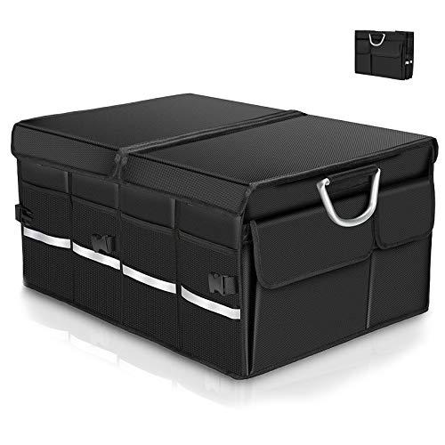 Warxin Kofferraumtasche Auto Kofferraum Organizer mit Klettverschluss Deckel Universal Faltbare Tragbarem Multifunktionellem Lagerplatz und Gepäckgestell, Wasserdicht