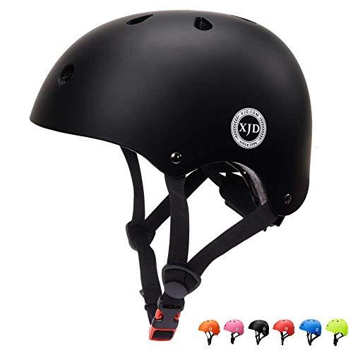 XJD Kinder Helm Fahrradhelm für 3-13 Alt Skaterhelm mit Klassiker 1.0 CE-Zertifizierung Scooter-Helm für Mädchen und Junge Multisport Skateboard Roller Radfahren (Schwarz S)