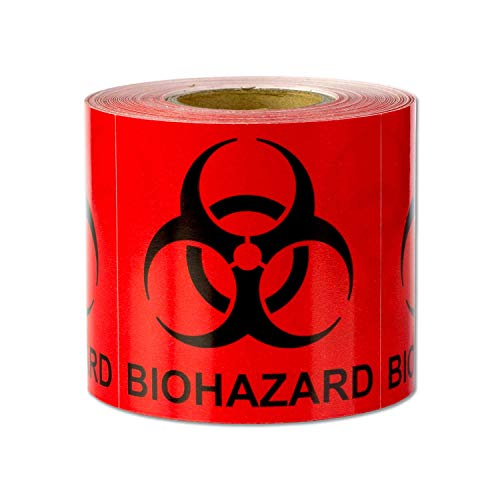 """Biohazard Warning Labels Self Adhesive Stickers (Red Black / 2"""" x 2"""") - 300 Labels per Package"""