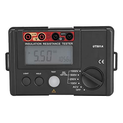 Probador de resistencia de aislamiento, medidor de resistencia de tierra, pantalla de luz de alarma de 1000 V Indicación de batería baja para pruebas e inspección de mantenimiento de