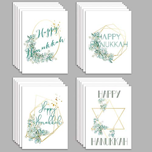 Geometric Hanukkah Cards Boxed Set - 24 Blank Holiday Greeting Cards w/White Envelopes - 4 Assorted Blue, Green, and Gold Designs - Bulk Chanukah Religious Stationery by RitzyRose