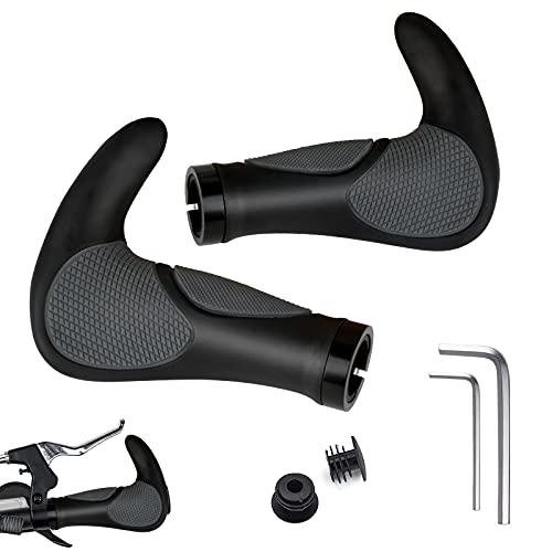 Weanas New Generation Bike Handlebar Grip Soft Gel Inserts Shock Resistance Ergonomics Comfort Design with G2 Screw Lock 1 Pair for Bicycle MTB XC FR Cyling (w/bar end)