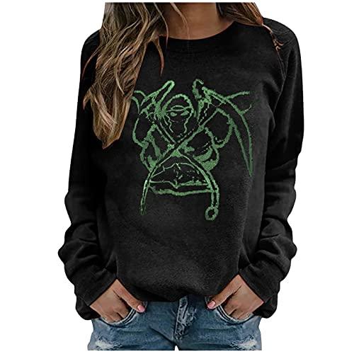 Sudadera con estampado de dibujos animados de Halloween para mujer, casual, suelta, manga larga, cuello redondo de los años 90 E-Girls Y2k estilo Jersey, Doble cuchillo negro, XL