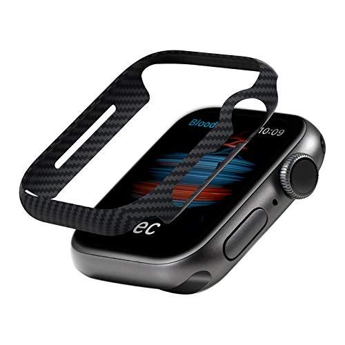PITAKA Apple Watch 対応 ケース Series 6 / SE / 5 / 4 40mm 適用 カバー 軽量 極薄 全面保護 傷防止 600Dアラミド繊維 カーボン風 デザイン 脱着簡単 40ミリ Air Case ブラック