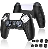 ps5 Controller Skins, Silicone Cover Skin Case with 8 Thumb Grip Caps, Anti-Slip Anti-Scratch Protective Cover Shell Fit Playstation 5 DualSense Controller (White)… (Yellow)