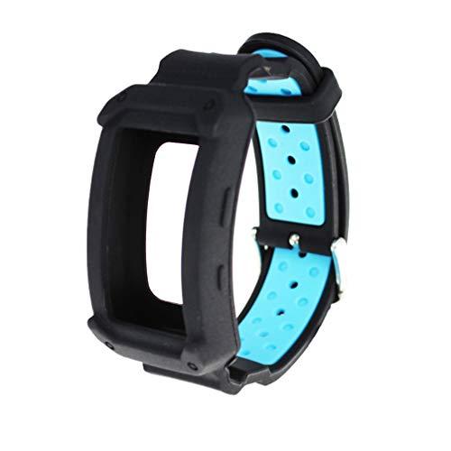 NICERIO Compatible para Samsung Gear fit 2 Bandas Correa de Repuesto para Reloj de Silicona con Marco Protector Pulseras de Reloj Compatible para Samsung Gear fit 2 (Negro Azul)