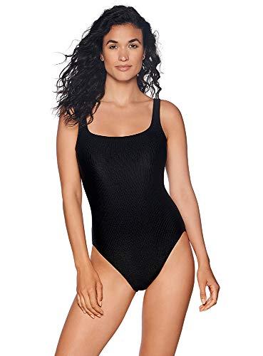 Reebok Women's Swimwear Sport Fashion Rib Scoop Neck One Piece Swimsuit, Black, 12