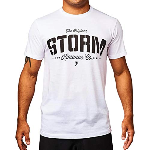Storm Stencil Camiseta blanca BJJ Brasileño Jiu Jitsu Casual No-Gi Tee Gi entrenamiento de gimnasio, blanco, medium